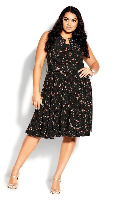 Petal Spot Dress - black