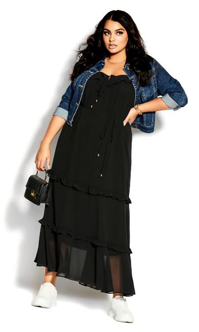 Frills Maxi Dress - black