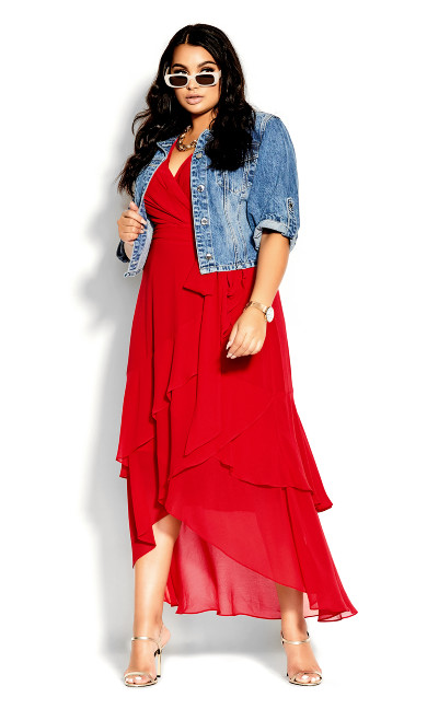 Flirty Tier Maxi Dress - lipstick