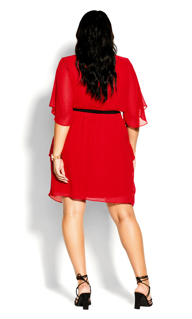 Colour Wrap Dress - lipstick
