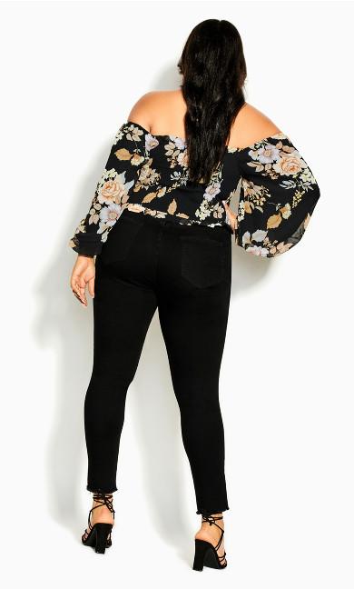 Aria Floral Top - black