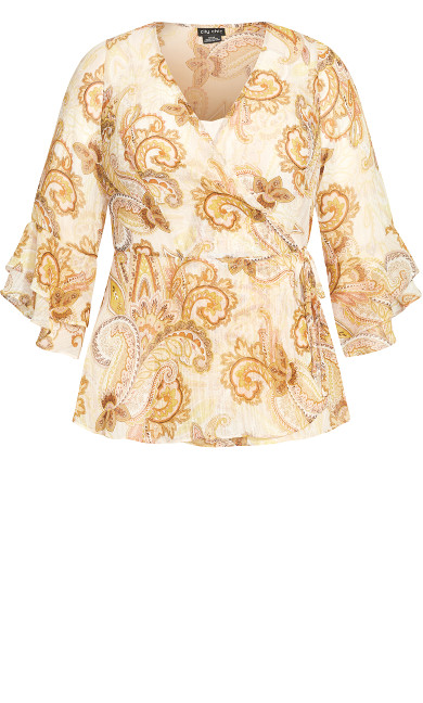 Paisley Flutter Top - neutral