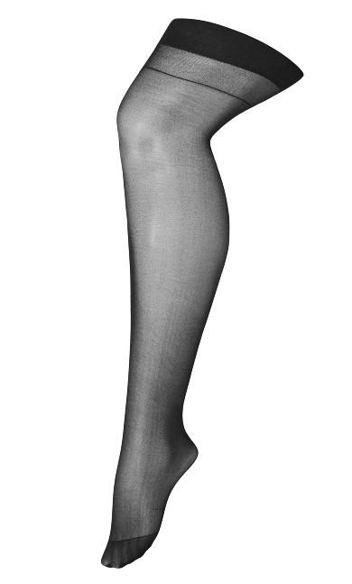 Back Seam Thigh High Stocking - black