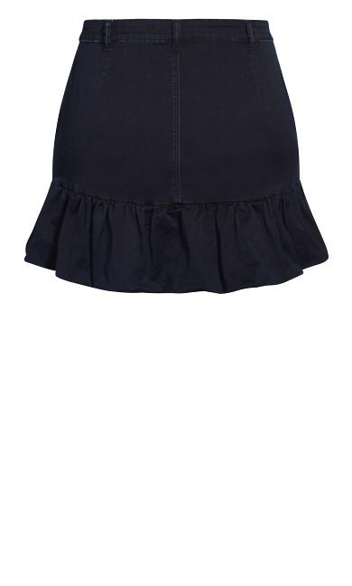 Balloon Hem Skirt - dark denim