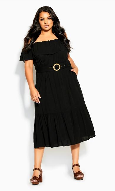 Belted Spirit Maxi Dress - black