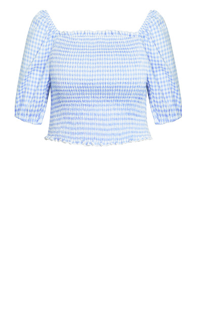 Crop Gingham Top - sky blue