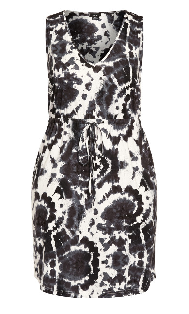 Moody Tie Dye Dress - black