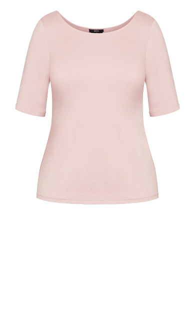 Scoop Neck Elbow Sleeve Tee - dusty rose