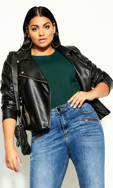 Plus Size Scoop Neck Elbow Sleeve Tee - jade