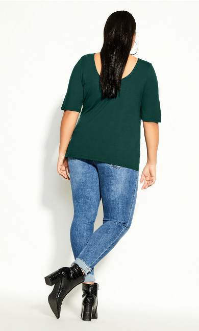 Scoop Neck Elbow Sleeve Tee - jade