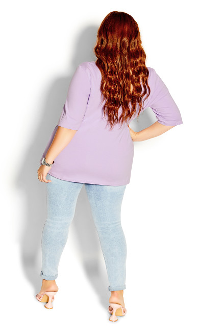 Scoop Neck Elbow Sleeve Tee - lilac