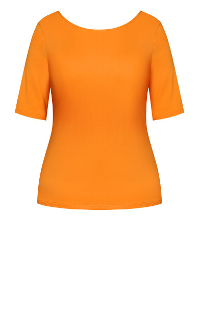 Scoop Neck Elbow Sleeve Tee - mango