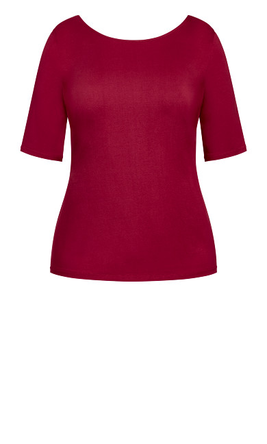 Scoop Neck Elbow Sleeve Tee - ruby