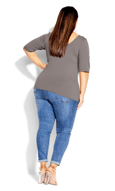 Scoop Neck Elbow Sleeve Tee - slate