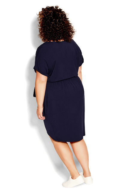 Relaxed Drape Dress - navy