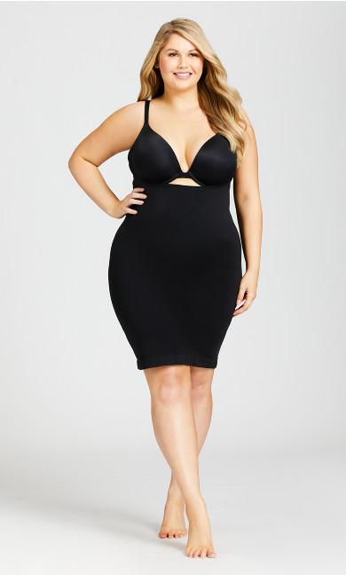 Plus Size Seamless Shaper Slip - black