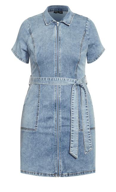 Denim Zip Thru Dress - light wash
