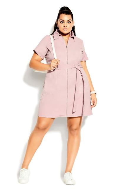 Denim Zip Thru Dress - flamingo