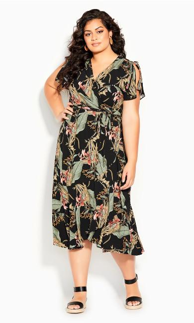 Island Palm Maxi Dress - black