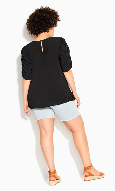Ruched Escape Top - black