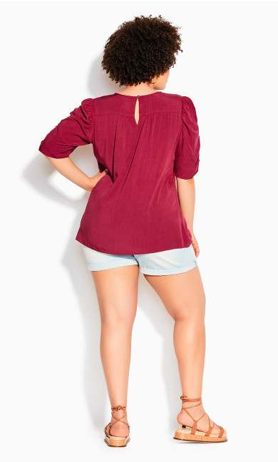 Ruched Escape Top - rhubarb