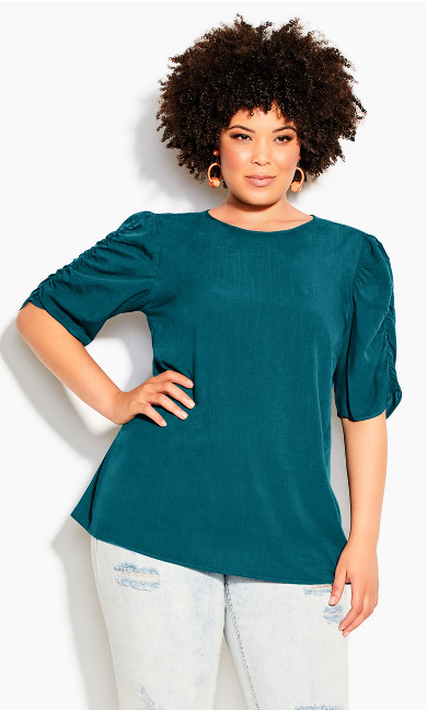Rouched Escape Top - teal