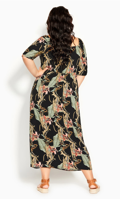 Royal Palm Maxi Dress - black