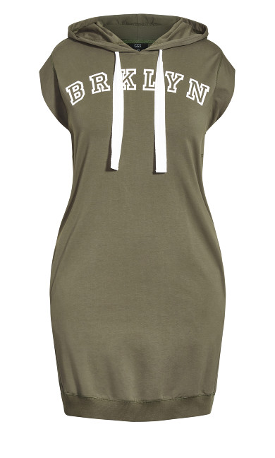 Simple Hoodie Dress - dark khaki