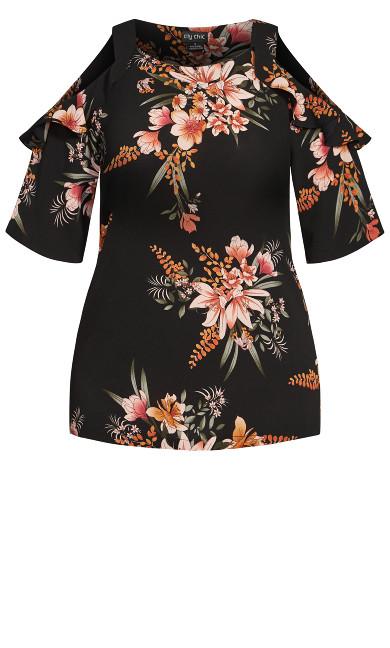Sweet Floral Top - black