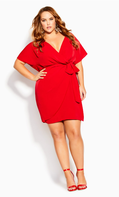 Seasonal Tie Dress - red