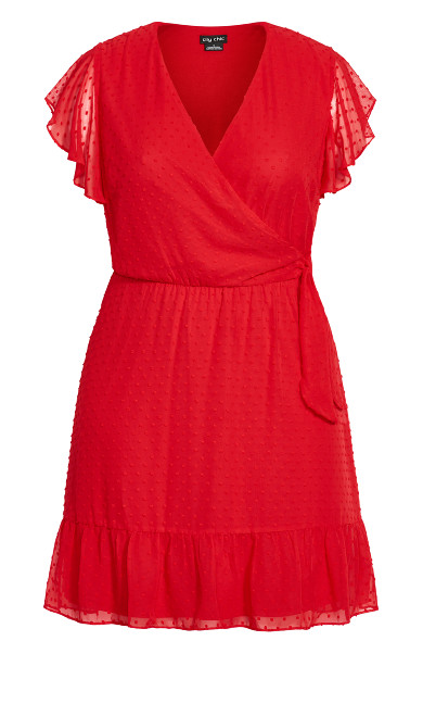 Dobby Tie Dress - red
