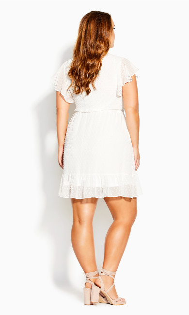 Dobby Tie Dress - white