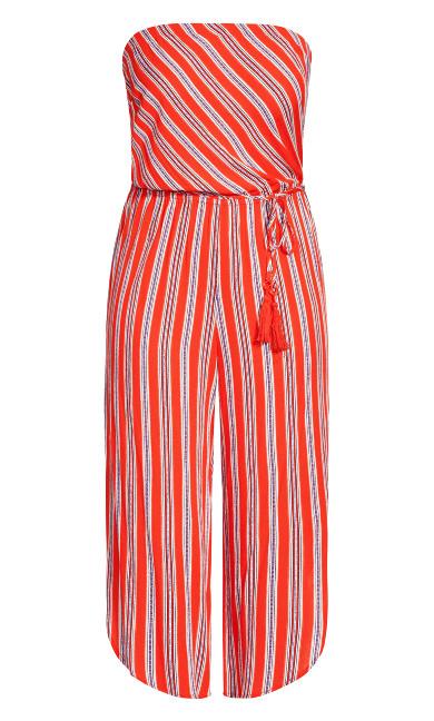 Summer Stripe Jumpsuit - tomato