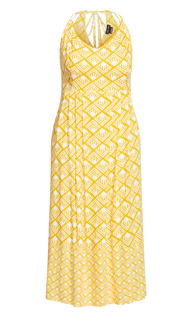 Geo Maxi Dress - golden