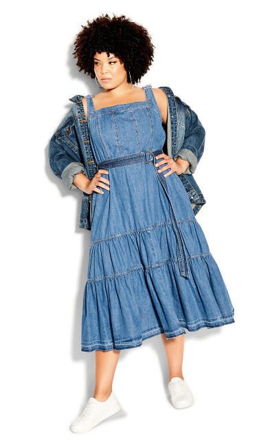 Denim Thrills Maxi Dress - indigo