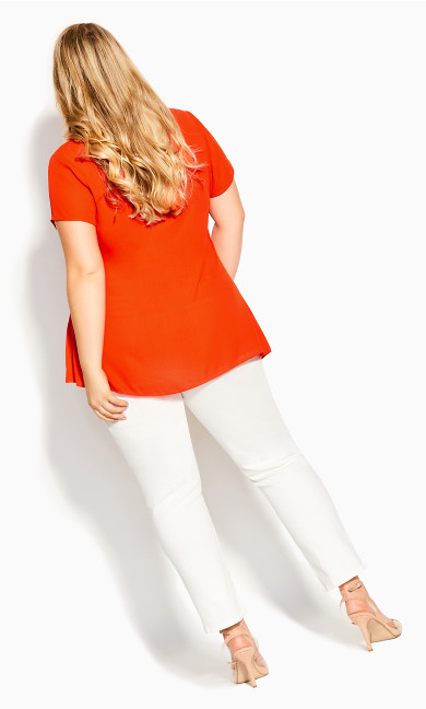 V Lace Trim Top - tangerine