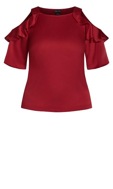 Frill Cold Shoulder Top - rouge