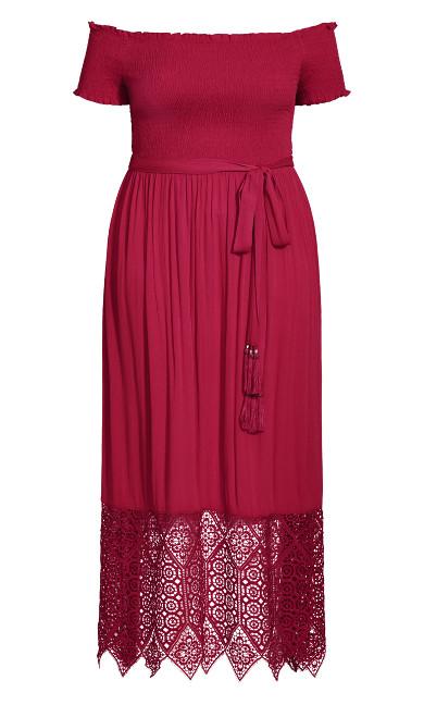 Crochet Hem Maxi Dress - rhubarb