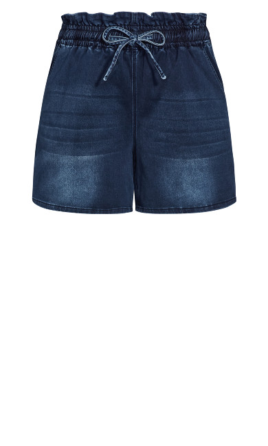 Paperbag Tie Short - dark wash