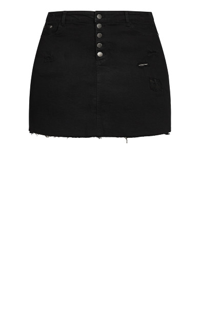 Distress Corset Skirt - black wash