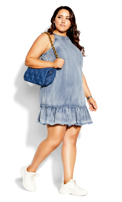 Denim Halter Dress - mid denim