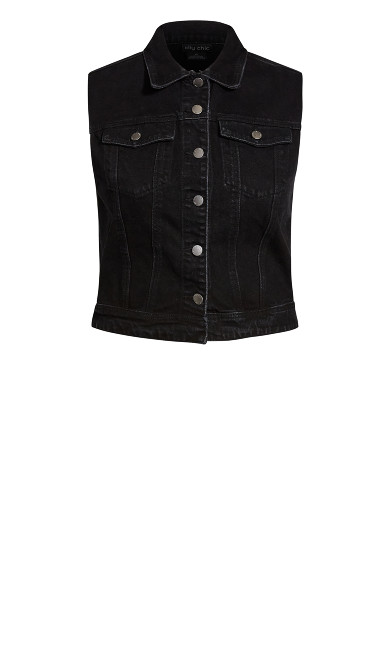 Denim Vest Jacket - black wash
