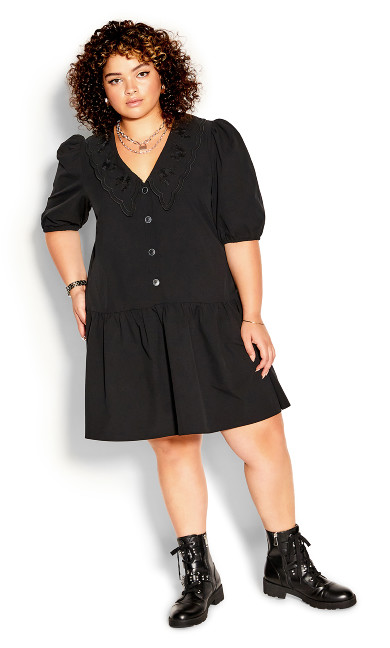 Collard Love Dress - black