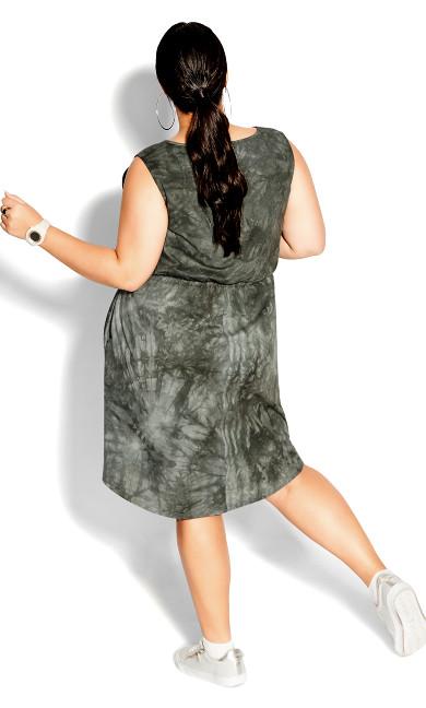 Tie Dye Dress - khaki