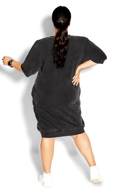 Acid Wash Dress - charcoal