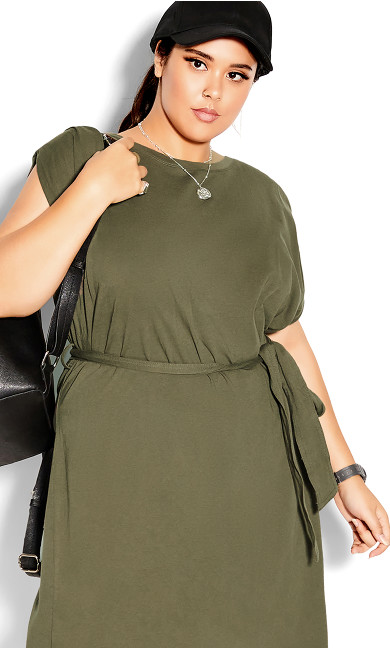Sharp Shoulder Dress - light khaki