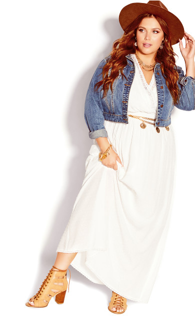 Sweet Emb Maxi Dress - ivory