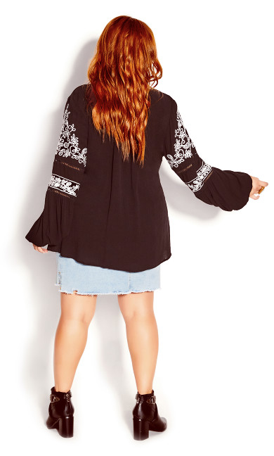 Spice Market Embroidered Top - black