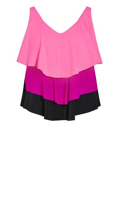 Tiered Tankini Top - hot pink