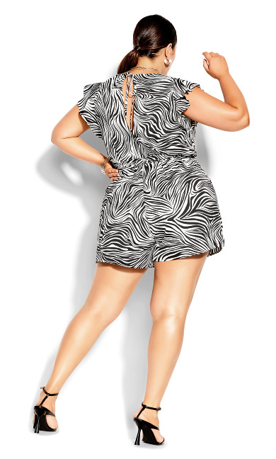 Safari Playsuit - zebra print